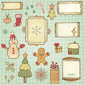 Vector set of the pencil drawn Christmas elements in country style. Seamless background.  AI, EPS, SVG and JPG.