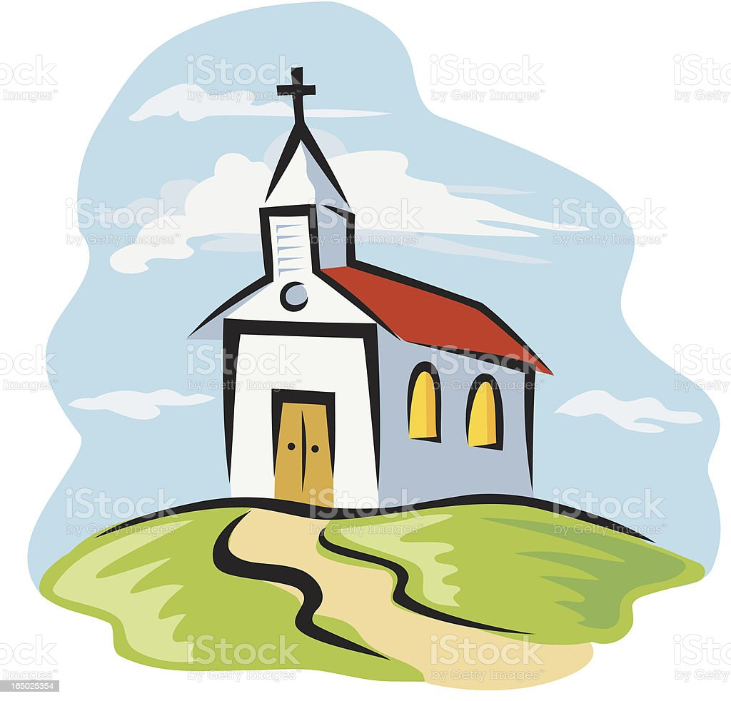 Country Church vector art illustration