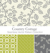 Country Cottage Seamless Vector Repeating Swatch Collection