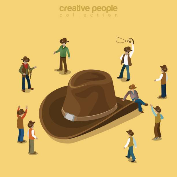 Country cowboy style flat 3d isometry isometric concept web vector illustration. Stylish male wearing high-crowned wide-brimmed felt straw stetson attire. Creative people collection. Country cowboy style flat 3d isometry isometric concept web vector illustration. Stylish male wearing high-crowned wide-brimmed felt straw stetson attire. Creative people collection. rancher illustrations stock illustrations
