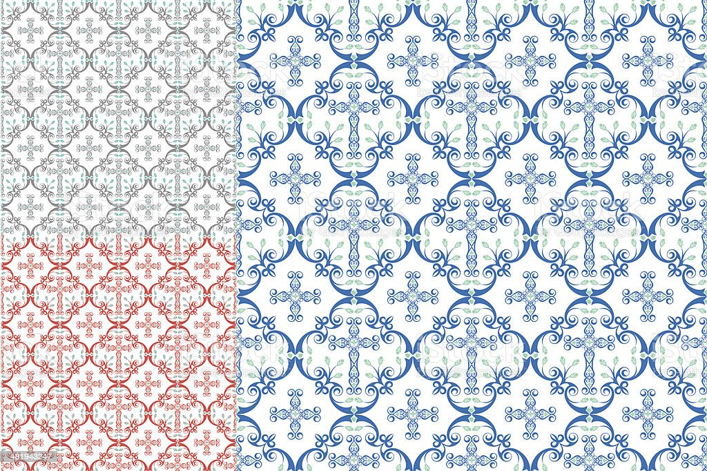 Country Cross Seamless Patterns vector art illustration