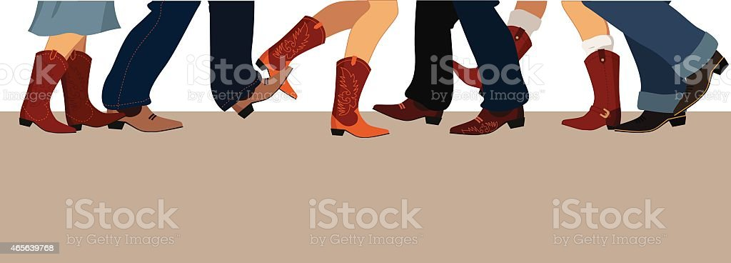 Country dancing banner vector art illustration