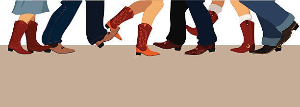 land tanz banner - cowboystiefel stock-grafiken, -clipart, -cartoons und -symbole