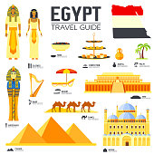 Country Egypt travel vacation guide of goods, places and features. Set of architecture, people, culture, icons background concept. Infographics template design for web and mobile. On flat style