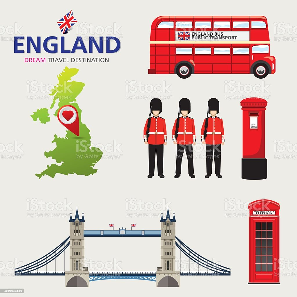 Country England travel vacation guide of goods vector art illustration