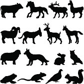 Vector silhouettes of many different farm animal profiles.