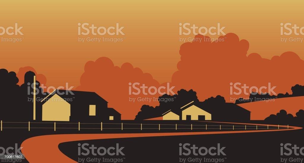 Country farmstead vector art illustration