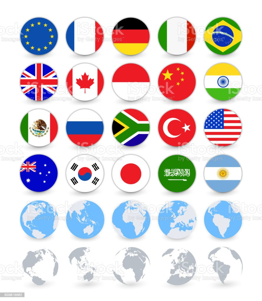 G20 country flags flat web buttons with globes vektorkonstillustration