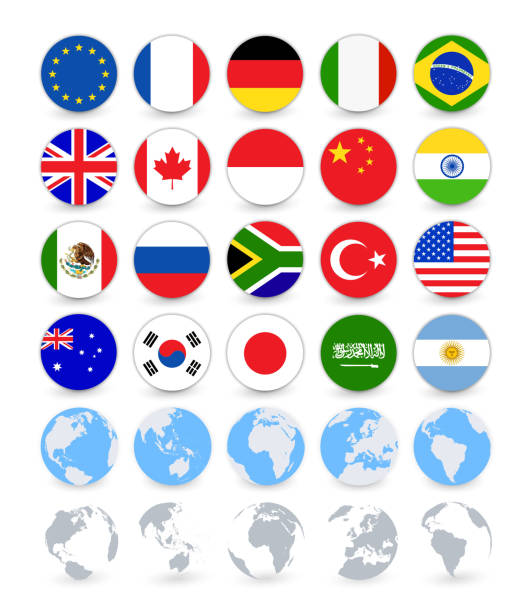 G20 country flags flat web buttons with globes vector art illustration