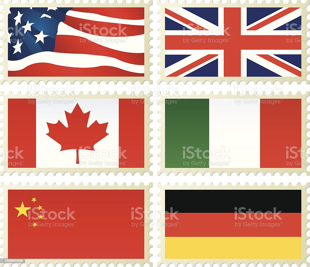 Country Flags on Stamps, US Canada China UK Italy Germany royalty-free stock vector art