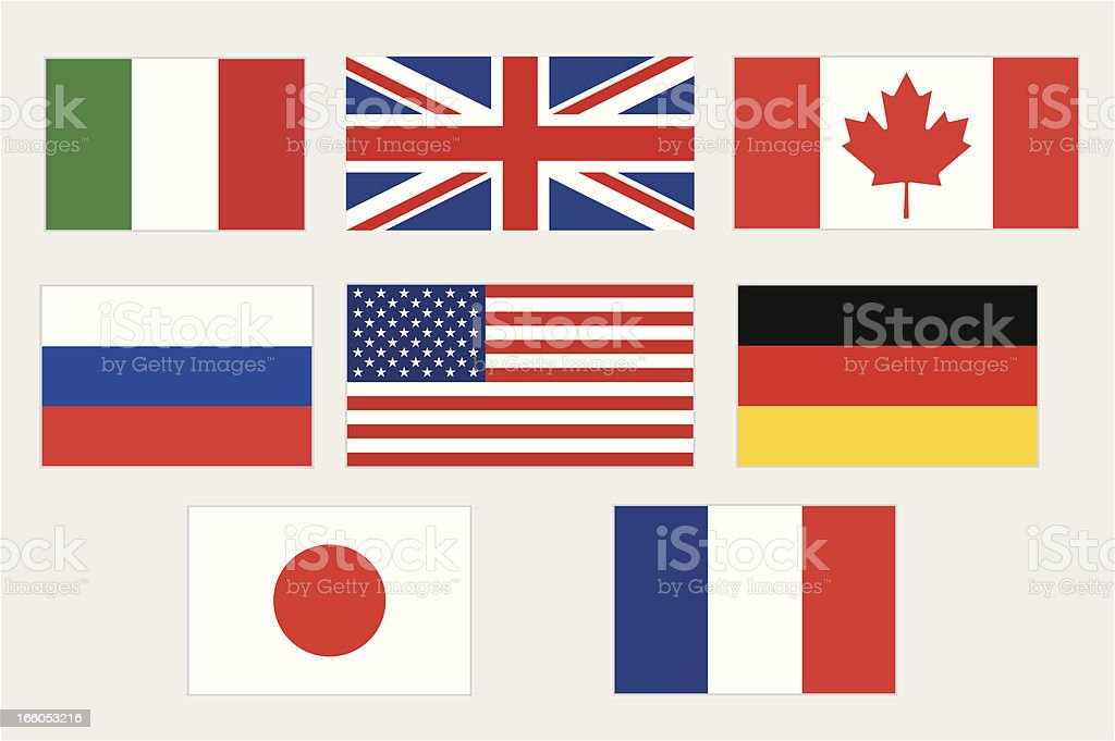 G8 country flags vector art illustration