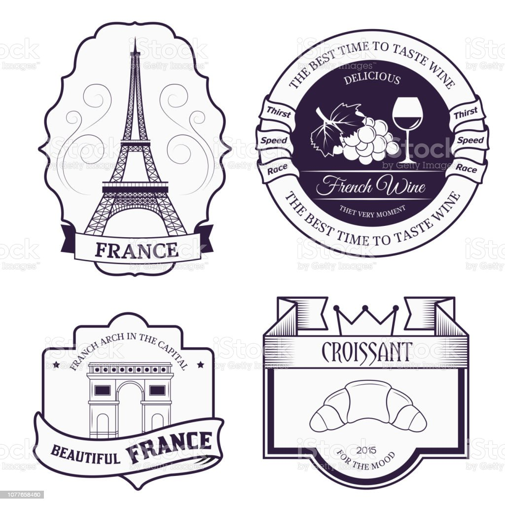 Country France set label template of emblem element for your product, logo or design, web and mobile applications with text. Vector illustration with thin lines isolated icons on stamp symbol vector art illustration