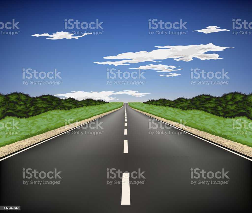 Country highway vector art illustration