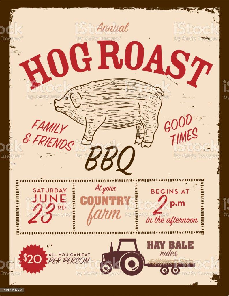 country hog roast invitation design template stock vector art more