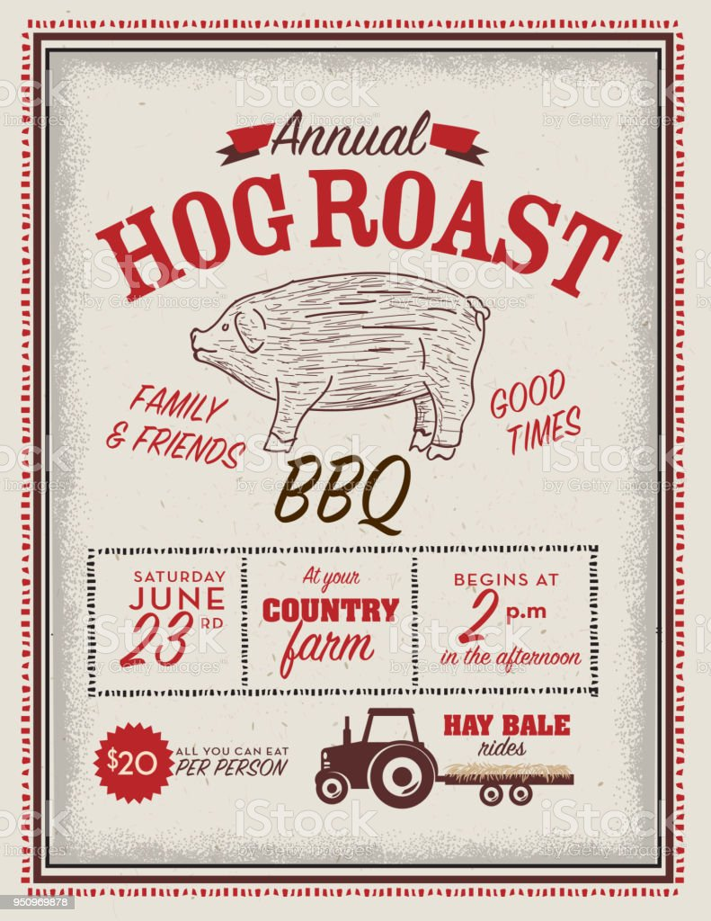 country hog roast invitation design template stock vector art more