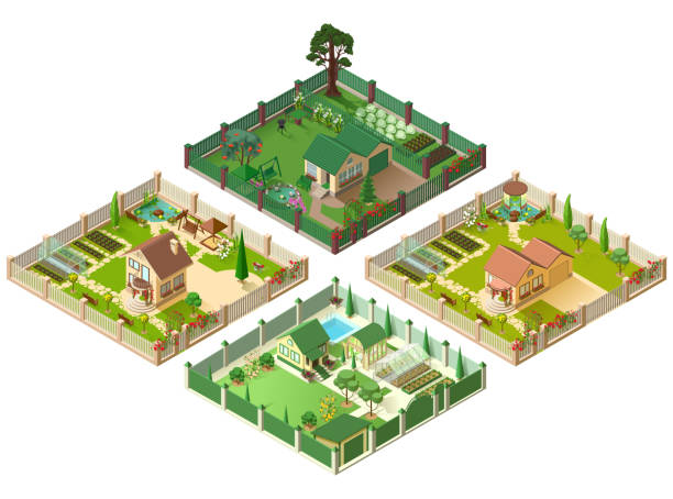Country house and large garden. Set of 3d cottage isometric illustration Country house and large garden. Set of 3d cottage isometric illustration. Isolated on white vector cartoon illustration garden stock illustrations