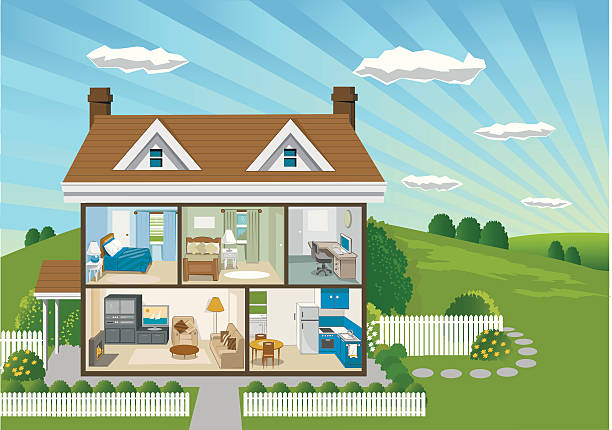 stockillustraties, clipart, cartoons en iconen met country house cross section - garden house