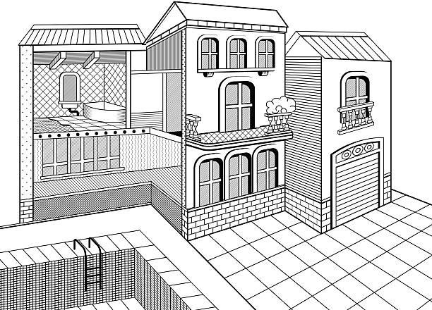 illustrations, cliparts, dessins animés et icônes de country house coupe transversale - architecture intérieure beton