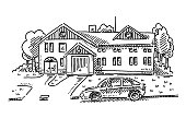 Country House Front Yard Parking Car Drawing