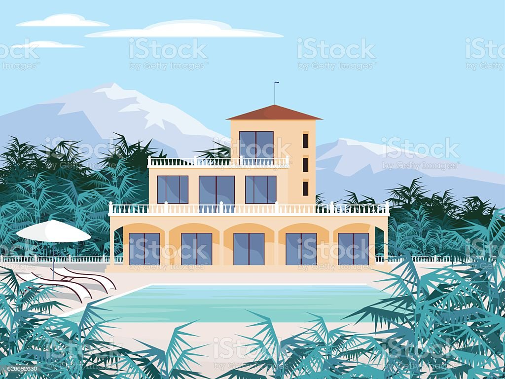 country house in the mountains vector art illustration