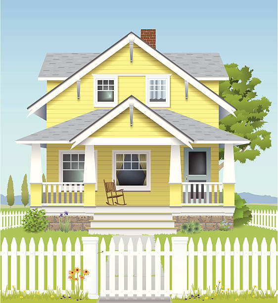 Country House A big yellow farmhouse sits out on the grassy plains. porch stock illustrations