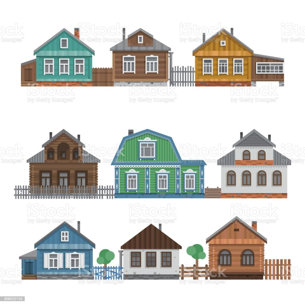 Country houses collection. vector art illustration