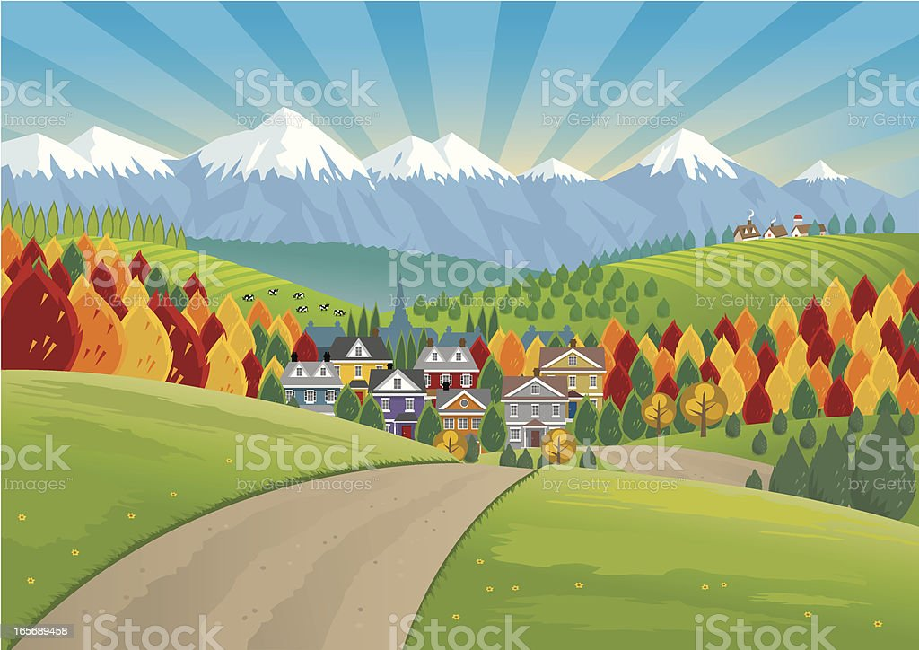 Country Houses in Valley vector art illustration