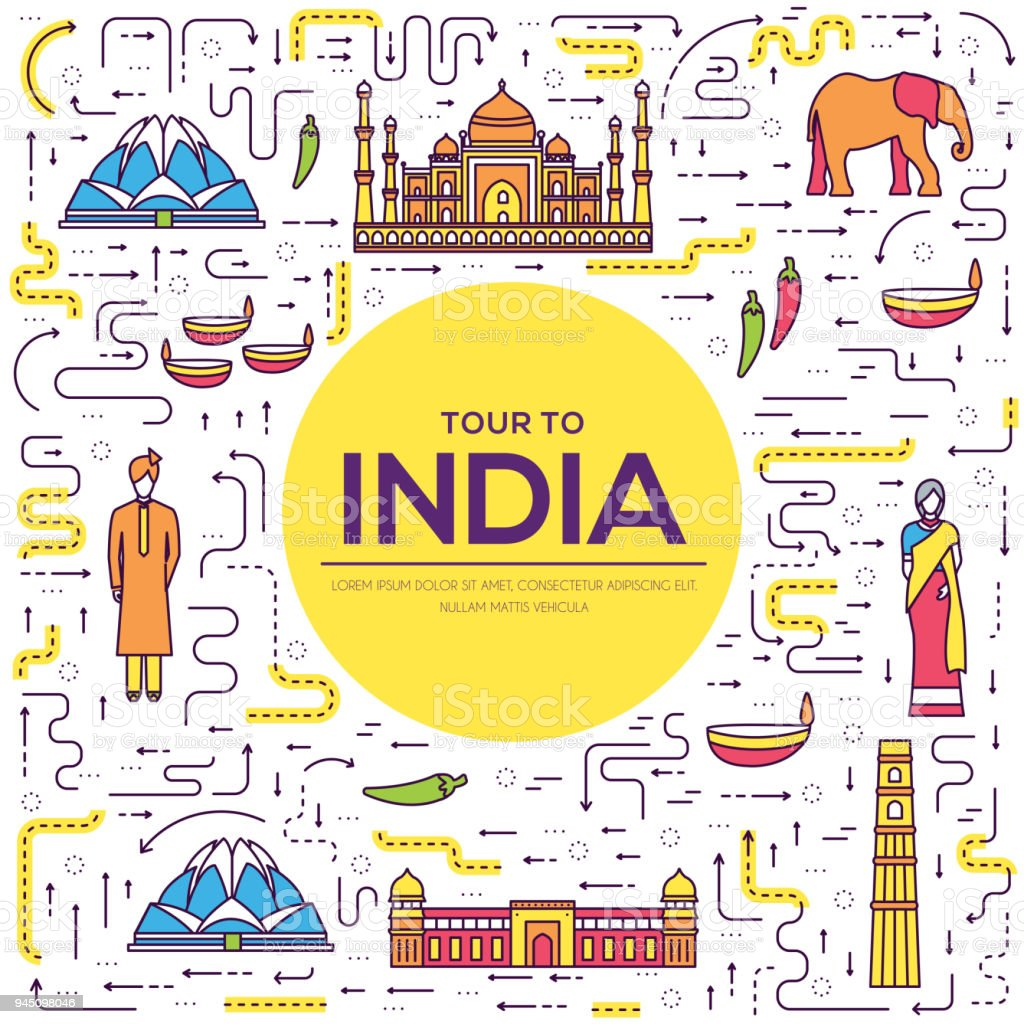 Country India travel vacation guide of goods, place and feature. Set of architecture, fashion, people, item, background concept. Infographic traditional ethnic flat, outline, thin line icon vector art illustration