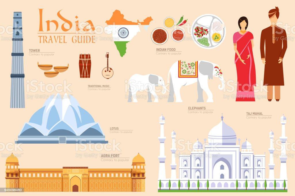 Country India travel vacation guide of goods, places and features. Set of architecture, fashion, people, items, nature background concept. Infographics template design for web and mobile on flat style vector art illustration