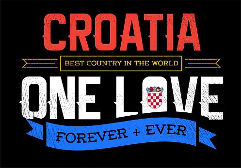 Country Inspiration Phrase for Poster or T-shirts. Creative Patriotic Quote. Fan Sport Merchandising. Memorabilia. Croatia.