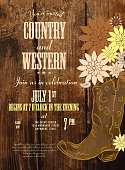 Country invitation design template boot and flowers