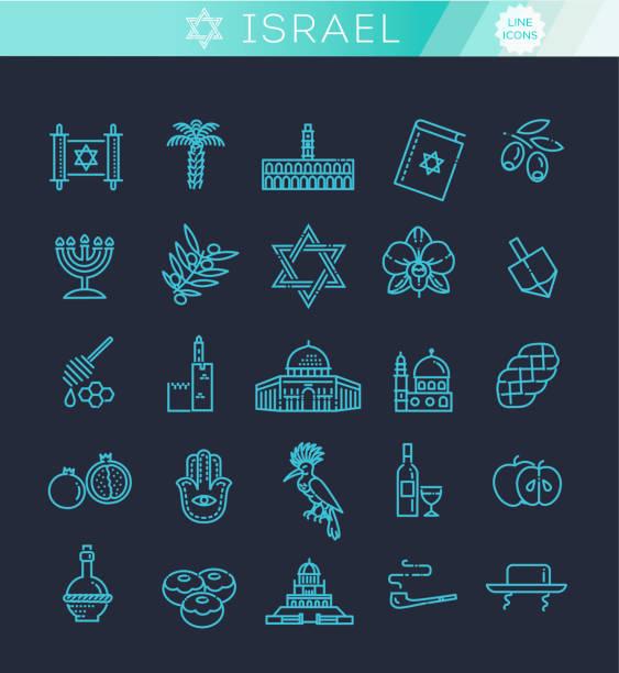 Land Israel Reise Urlaub Icons set – Vektorgrafik