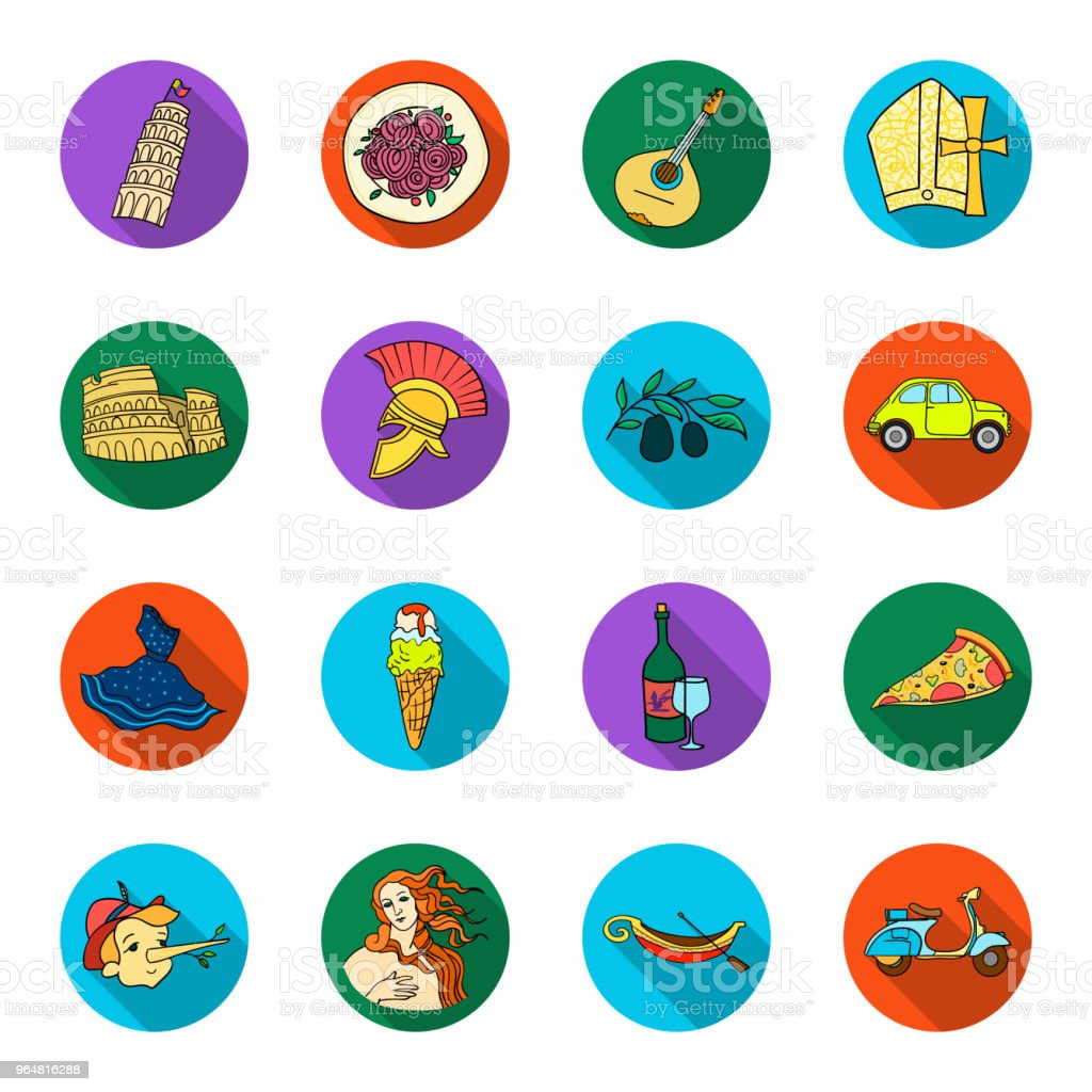 Country Italy flat icons in set collection for design. Italy and landmark vector symbol stock web illustration. royalty-free country italy flat icons in set collection for design italy and landmark vector symbol stock web illustration stock vector art & more images of art