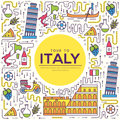Country Italy travel vacation guide of goods, place and feature. Set of architecture, fashion, people, item, background concept. Infographic traditional ethnic flat, outline, thin line icon