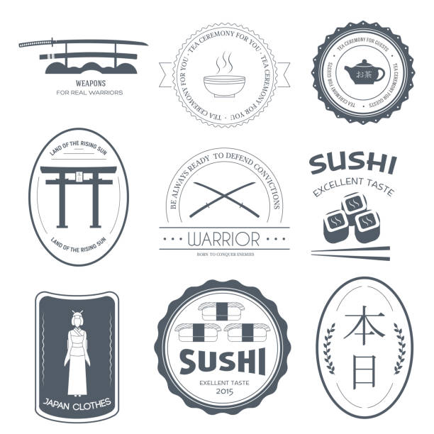 ilustrações de stock, clip art, desenhos animados e ícones de country japan label template of emblem element for your product or design, web and mobile applications with text.  vector illustration with thin lines isolated icons on stamp symbol - japanese font