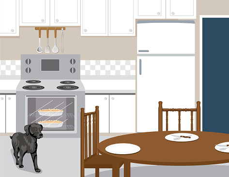 Country Kitchen With A Black Dog