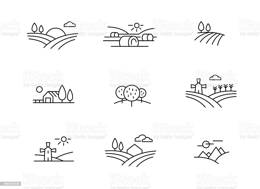 Country landscape icons vector art illustration