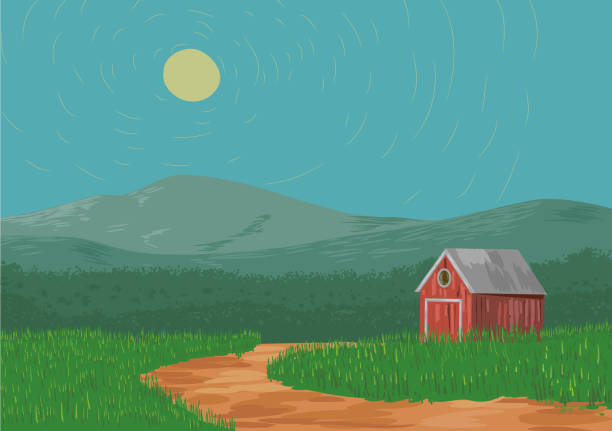 Country landscape of mountain and barn vector vector art illustration