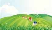 Vector illustration of the country landscape with peaceful village.