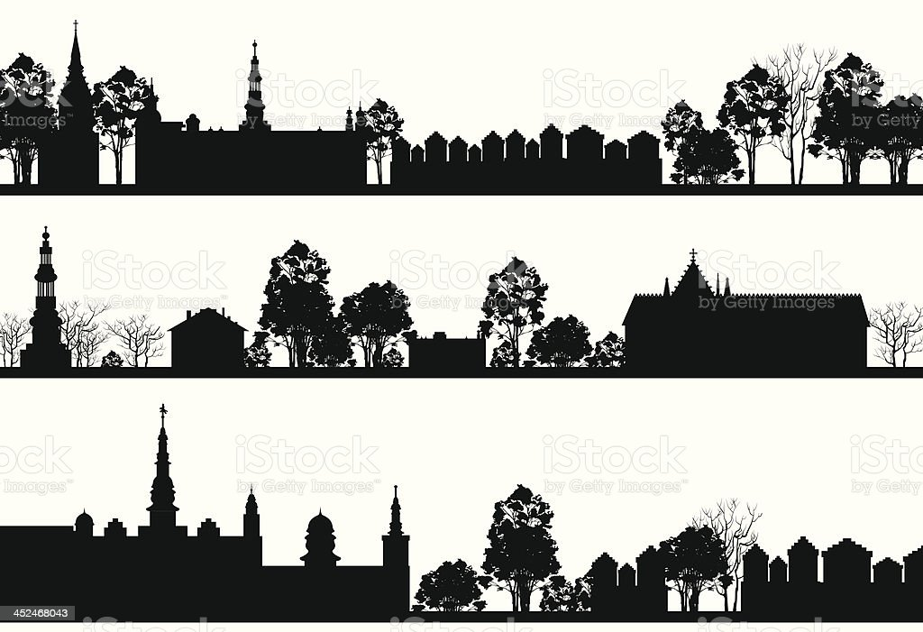 country Landscapes with Church and Trees vector art illustration