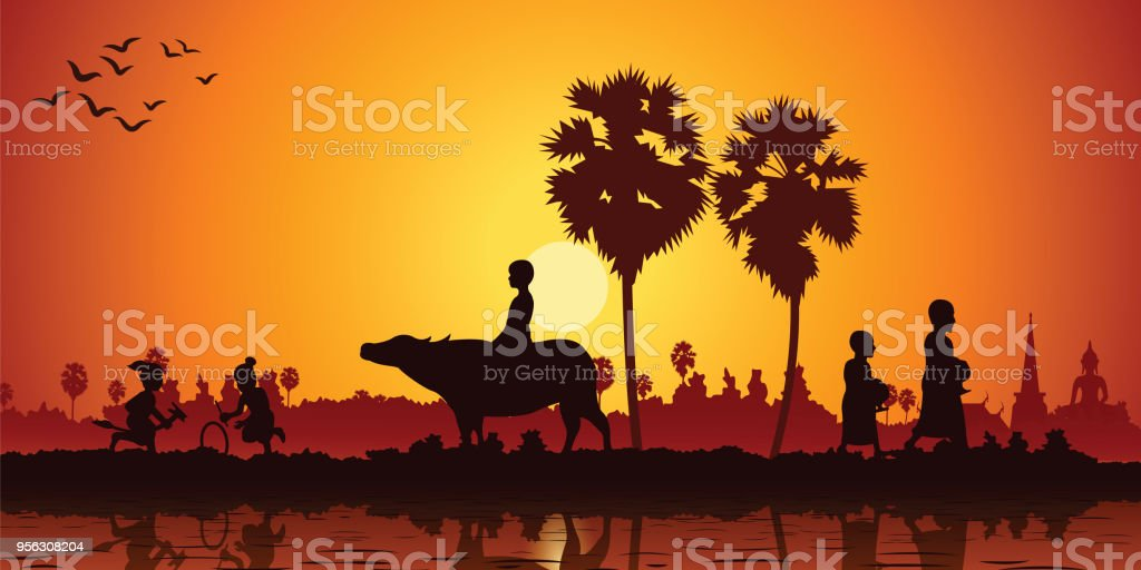 country life of Asia children play banana horse ride buffalo while monk receive food on sunrise time vector art illustration