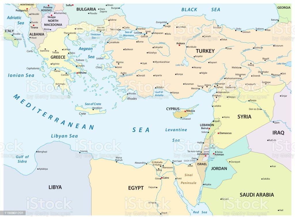 Mapa Del Mar Mediterraneo.Ilustracion De Mapa Del Pais Del Mar Mediterraneo Oriental Y