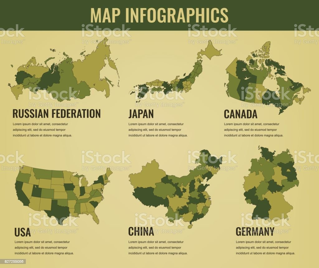 Country maps infographic template usa japan canada china germany country maps infographic template usa japan canada china germany russia gumiabroncs Choice Image