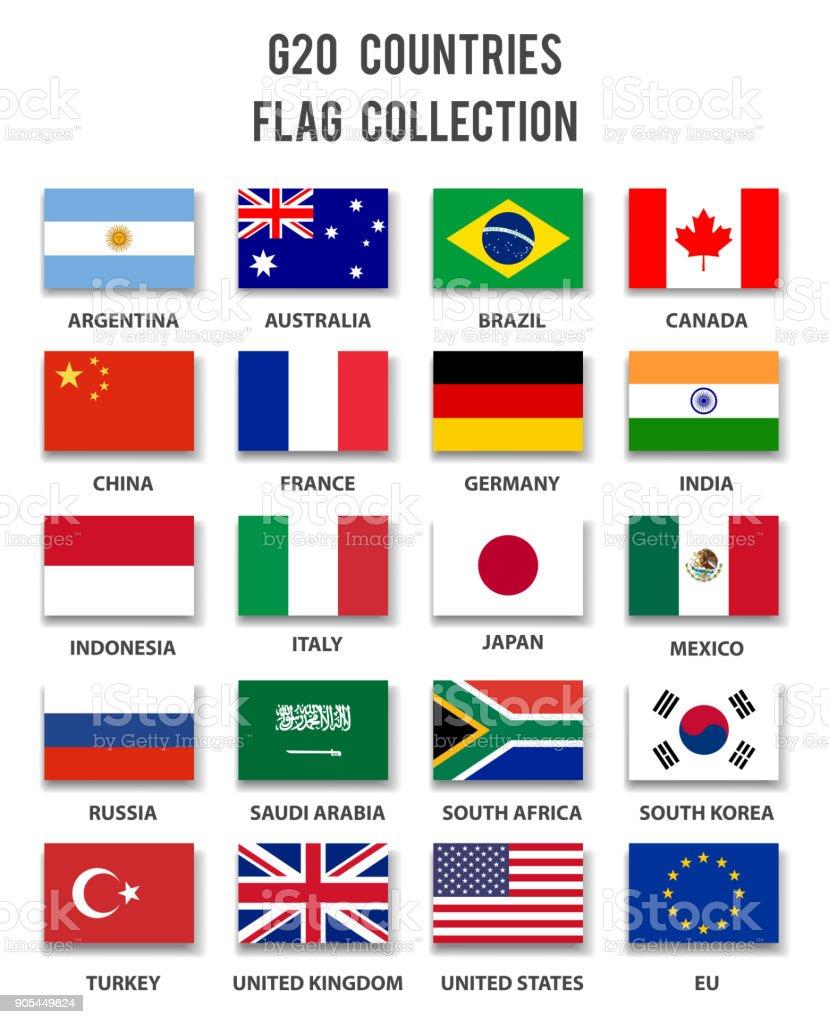 G20 の加盟国のフラグ コレクション - 完全です ベクターアートイラスト