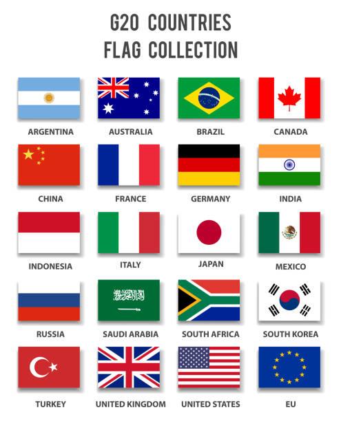 g20 の加盟国のフラグ コレクション - 完全です - ロシアの国旗点のイラスト素材/クリップアート素材/マンガ素材/アイコン素材