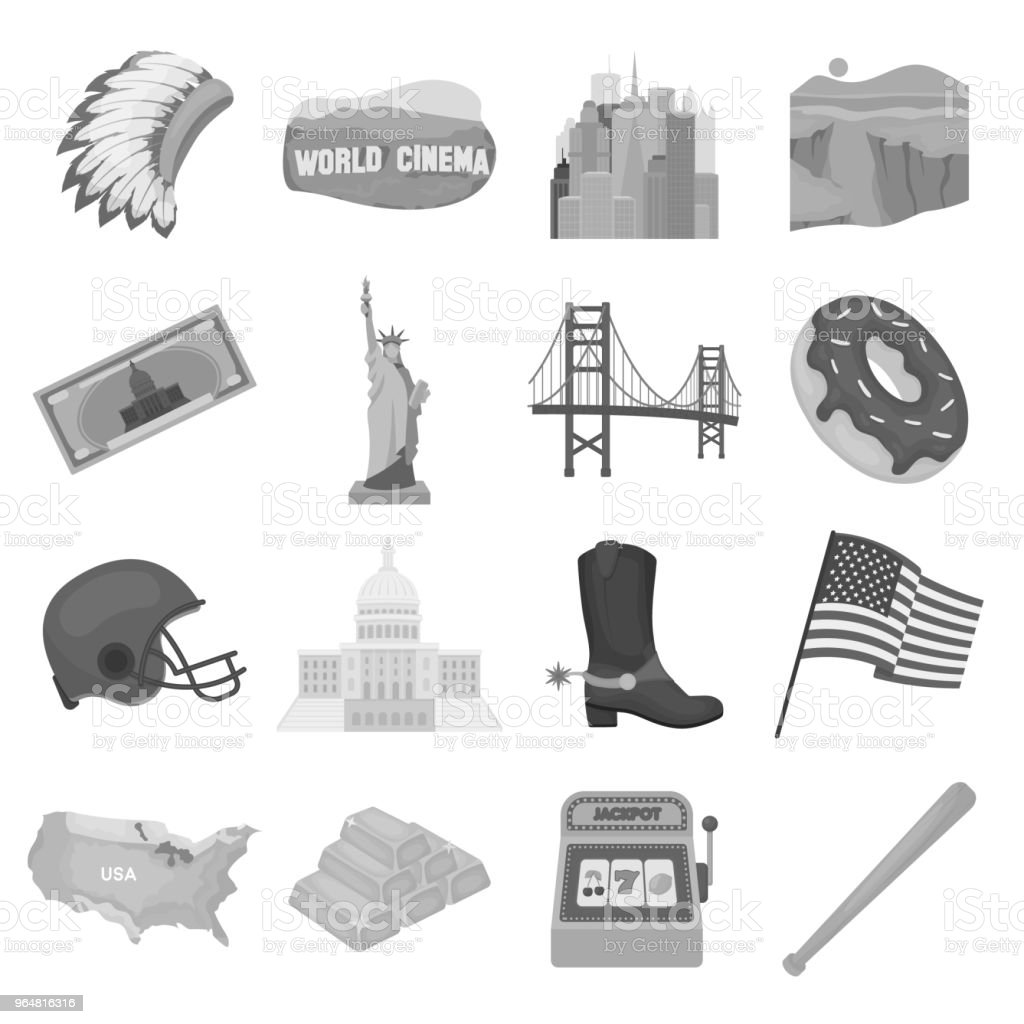 USA country monochrome icons in set collection for design.Travel and attractions vector symbol stock web illustration. royalty-free usa country monochrome icons in set collection for designtravel and attractions vector symbol stock web illustration stock vector art & more images of bonnet