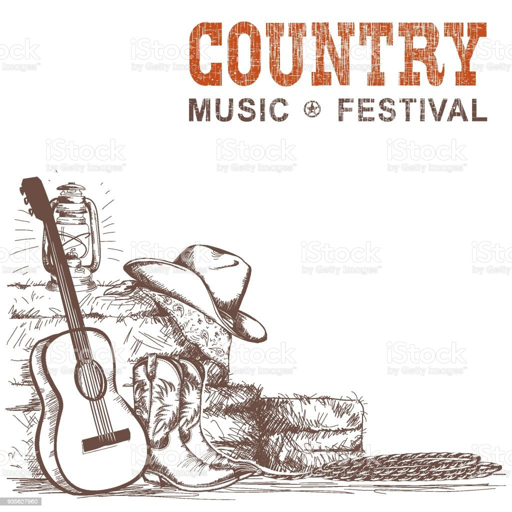 Country music background with guitar and american cowboy shoes and western hat vector art illustration
