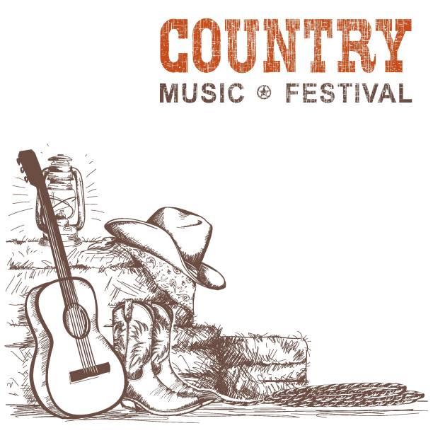 hintergrund der country-musik mit gitarre und schuhe der amerikanischen cowboys und western hut - cowboystiefel stock-grafiken, -clipart, -cartoons und -symbole