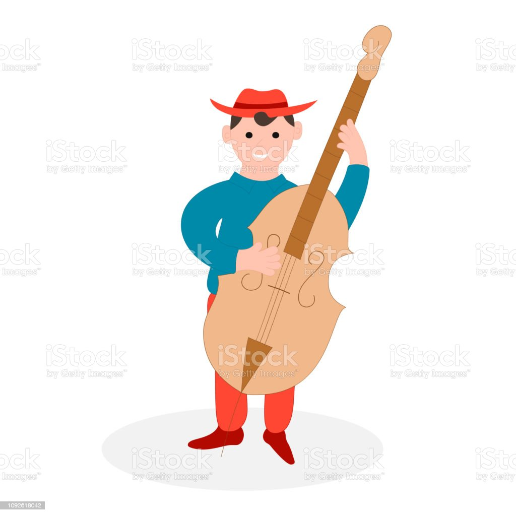 Country music cello player. Bluegrass musical festival. Vector isolated illustration. Jazz musician. vector art illustration