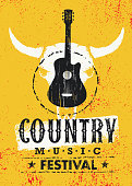 Country Music Festival Creative Vector Textured Poster Concept With Guitar and Cow Skull On Grunge Wall Background